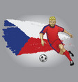 czech republic soccer player with flag as a vector image vector image