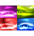 glowing shiny wave backgrounds set vector image vector image