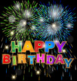 happy birthday with fireworks background vector image