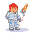 icon of small child astronaut in a space vector image