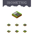 isometric way set of road strip driveway and vector image vector image