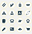 journey icons set with electric train beer cart vector image vector image