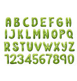 kiwi tropical fruit font letters and numbers vector image