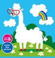 lama in sunglasses hearts grazing in meadow paint vector image