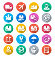 Logistics and shipping flat color icons vector image vector image