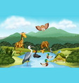 many animals in nature vector image vector image