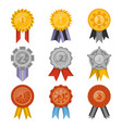 medals collection with ribbons isolated set vector image vector image