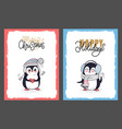 merry christmas and happy holidays with penguins vector image vector image