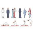 muslim cartoon character set - arab men and women vector image