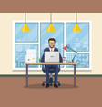 office workplace with table bookcase window vector image vector image