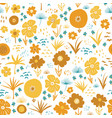 orange yellow teal autumn florals scandinavian vector image vector image