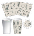 paper cup for hot drink with coffee-themed doodles vector image vector image