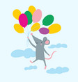 rat flying with colorful air balloon vector image