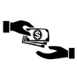 receiving money banknotes stack icon vector image vector image