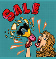 sale woman with megaphone advertising announcement vector image vector image