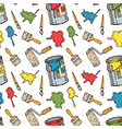 seamless pattern with paintbrushes and paint vector image vector image