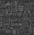seamless pattern with vintage hand drawn alcohol vector image