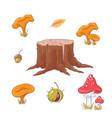 set in style hand drawing forest stump vector image