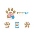 set of paw logo combination pet and cursor symbol vector image