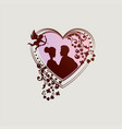 silhouette of heart with decoration and silhouette vector image vector image