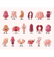 smiling isolated meat cartoon characters vector image vector image