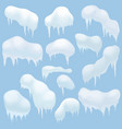Snow elements Snow caps snowballs and snowdrifts vector image