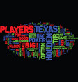texas hold em tips text background word cloud vector image vector image