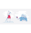 the old man stand up paddling vector image vector image