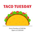 traditional mexican fastfood taco tuesday poster vector image vector image