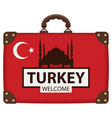 travel bag with turkish flag and hagia sophia vector image vector image