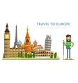 Travel to Europ banner with famous attractions vector image