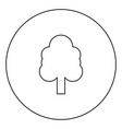 tree black icon outline in circle image vector image vector image