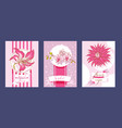 tropical flowers set of cards vector image