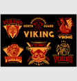 vintage viking emblems set with scandinavian vector image vector image