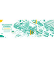 warehouse exterior isometric outline concept vector image