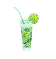 watercolor classical mojito cocktail vector image vector image