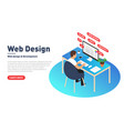web design and development concept web designer vector image vector image