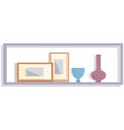 wooden shelf at wall with decorative elements vector image