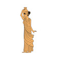 yellow woman from ancient greece holding up vase vector image