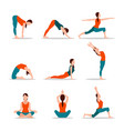 yoga collection of poses vector image vector image