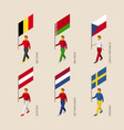 3d people with flags of european countries vector image vector image