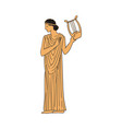 ancient greek woman character with harp sketch vector image