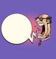 angry boss screaming the giant head vector image vector image