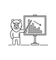 bear is standing on market graph background vector image