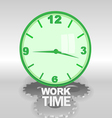 Big green 3d clock with work time text vector image