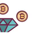 bitcoins and diamond vector image vector image
