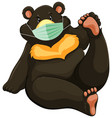 black bear cartoon charater wearing mask vector image vector image