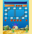 boardgame template with underwater scene vector image vector image
