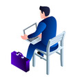 bussinesman on chair with laptop icon isometric vector image vector image