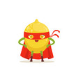 cartoon character of superhero lemon with arms vector image vector image
